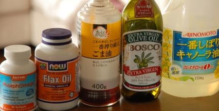 亜麻仁油、魚油、ごま油、キャノーラ油、オリーブ油
