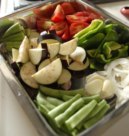 夏野菜のパスタの具