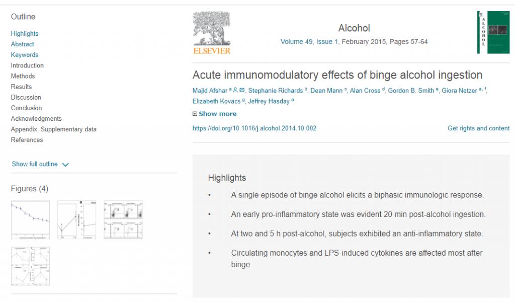 アルコールと免疫システムの関係に関する論文